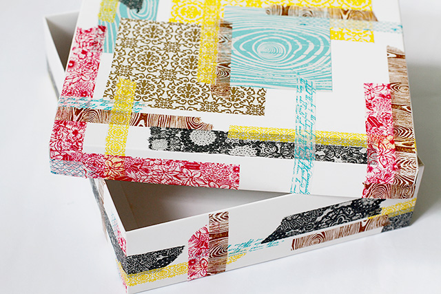 Washi páska, ozdobená krabice