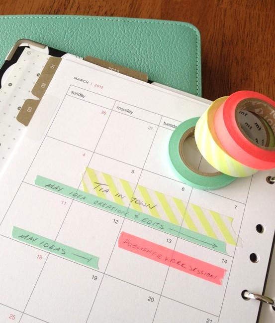 Washi páska, ozdobený kalendář